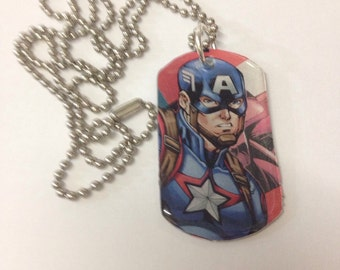 Upcycled Captain America Comic Book Dog Tag Necklace