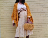 SALE: Deadstock Vintage Yellow Lace Tiered Midi Skirt by Placements