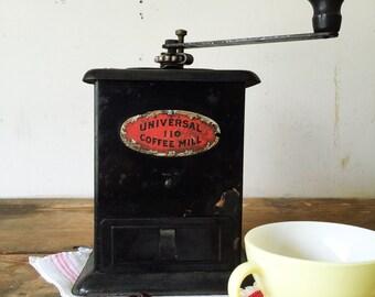 Antique Tin Coffee Mill Grand Union Black Metal Coffee Grinder Universal Coffee Grinder #110 Early 1900s