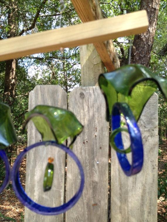 Glas windspiel aus recycling flaschen von liftingupspirits auf etsy