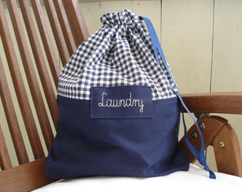 Travel laundry bag, dirty clothes bag, checkered, grating, chequered fabric, personalized gift