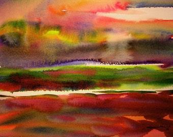 Beautiful original handmade watercolor abstract seascape sunrise painting.