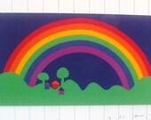 SOLD:  1976 Mid Century Mod Tampella Danish Rainbow Silkscreen Textile Art Wall Hanging