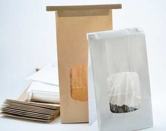 50 - 4 3/4 x 2 1/2 x 9 1/2 -1lb -Kraft brown or White tin-tie bags with window -Coffe Bags -Grease Safe for Packing Food, Candy, Baked Goods