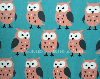 Big Owl in Teal by Trefle for Kokka, Japanese Fabric