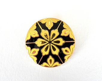 Beautiful Vintage Brooch, Yellow, Gold & Black Flower Design, Jewellery, Pin-Up