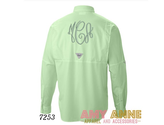 Items similar to columbia pfg fishing shirt monogram for Embroidered columbia fishing shirts
