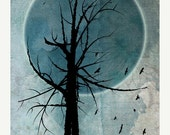 ON SALE Winter Solstice, Original Illustration, Art, Moon, Tree Silhouettes