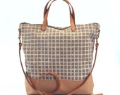 SALE! Leather Bottom Crossbody Zip Tote Day Bag - Screen printed linen