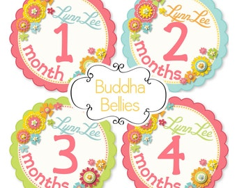 PERSONALIZED Baby Girl Month Stickers - Baby Monthly Stickers - Month to Month Stickers - Floral Month Stickers - Baby Girl Month Decals