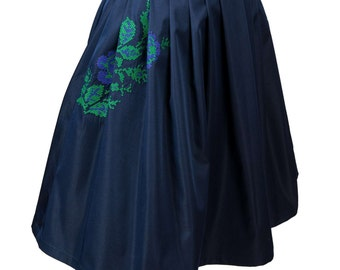 Navy satin Skirt Mid green embroidery flower Skirt Embroidery Urban Skirt Urban woman skirt Folk embroidery flower Skirt