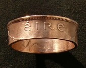 1964 Ireland 1/2 Pingin Bronze Coin Ring, Ring Size 9 1/2 and Double Sided