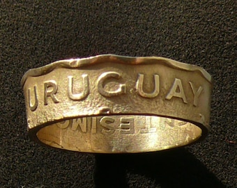 Bronze Coin Ring 1981 Uruguay 50 Centesimos, Ring Size 10 and Double Sided