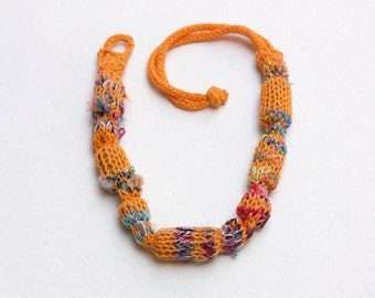 Rustic orange necklace, knitted statement jewelry with bamboo beads, OOAK