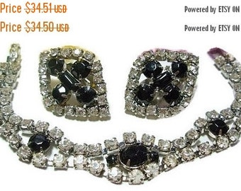 Black White Rhinestone Bracelet Earring Set Link Bracelet, Clip On Earrings,Silver Metal Vintage 1970s