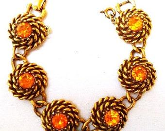 "Coro Link Bracelet Signed Citrine Orange Rhinestones Gold Twisted Metal Stations 7.5"" Vintage"