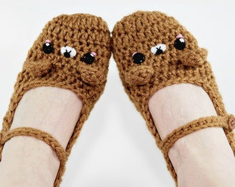 Brown Bear Slippers- Women accessories-Crochet Slippers-Kawaii-Brown-Animal Slipper-Geek-Gift For Her-Girl Slippers-Crochet Bear