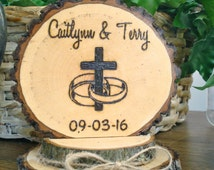 Rustic Cross Rings Wedding Cake Topper / Wood Burned / Personalized Topper