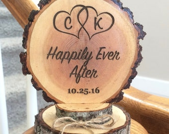 Happily Ever After Cake Topper Rustic Wedding Custom Engraved