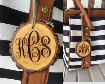 Monogram Tag, Purse Charm Tag, Backpack Tag, Keychain, Wood Keyring, Luggage Tag, Rustic Wood Tag, Personalized Gift, Bridesmaid Gift