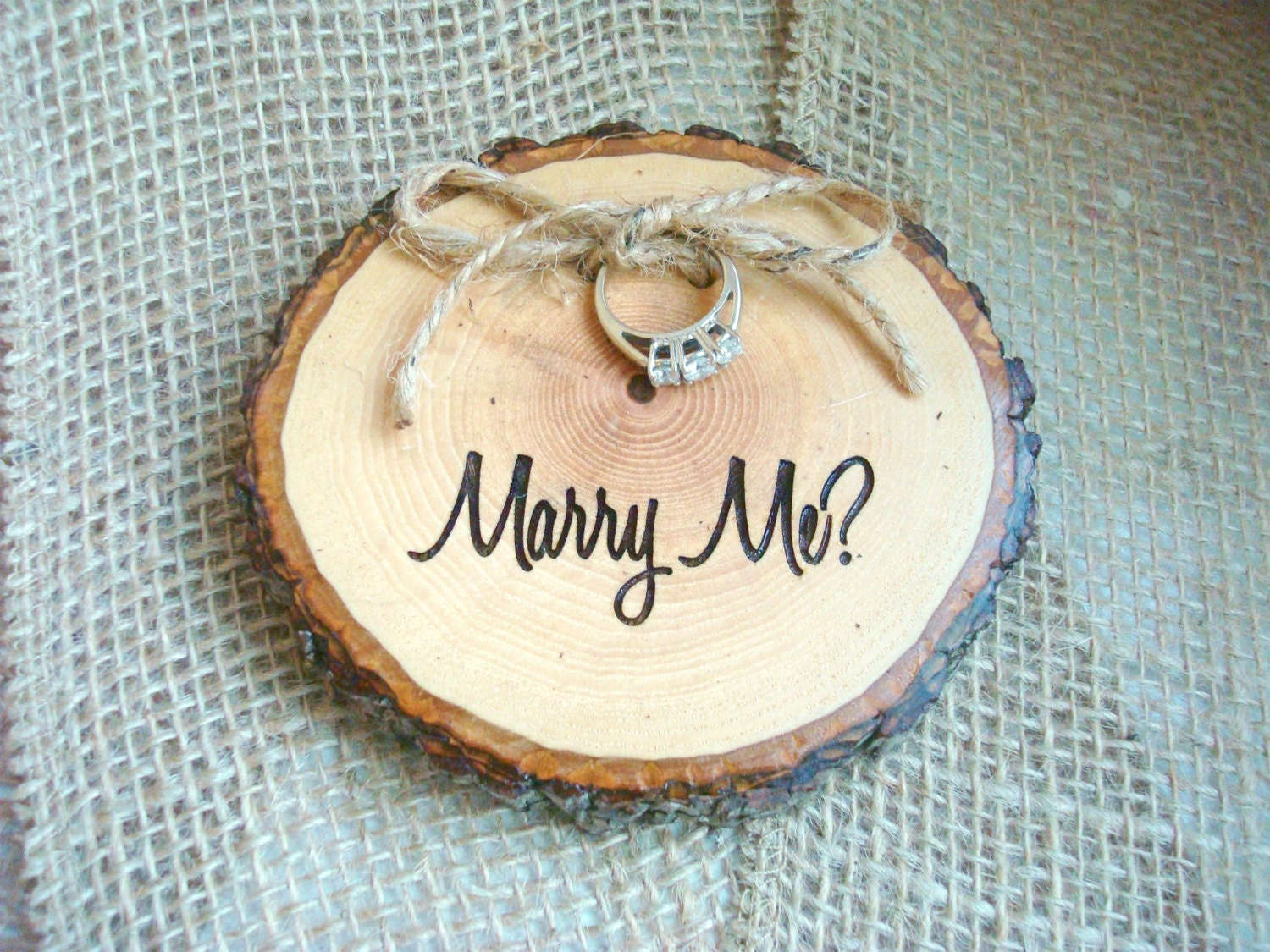 engagement ring holder marry me marry me rustic wood slice