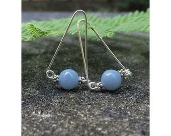 Angelite Dangle Drop Sterling Earrings, Casual Earrings, Everyday Earrings, Boho Gemstone Jewelry