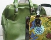 Vintage Carry On Weekender Retro Diaper Bag Vinyl GREEN Soft Sided Luggage Zipper Pockets Strap Shoulder Bag Excellent Condition