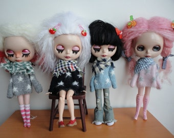 Hand Knitted Soft Star Pattern Sweaters and Scarf for Blythe