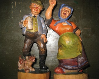 Old German Hand Carved Couple with Original Paint - Folk Art from Germany