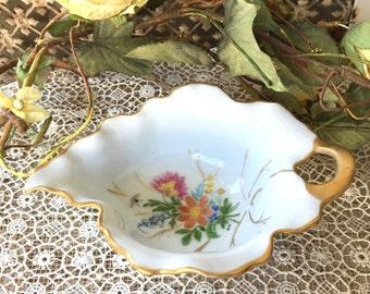 Charming Little Antique Leaf Shaped Hand Painted Porcelain Bowl