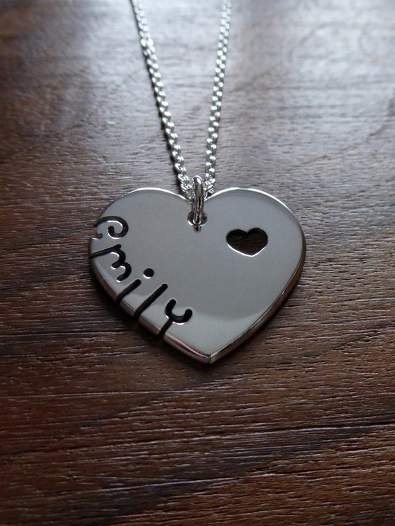 Silver Heart with Name Pendant Necklace