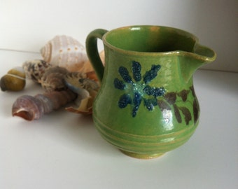 Antique JASPE French Rustic Creamer, Savoyard, Country Pottery, Green Pitcher, 1910 - 1920's