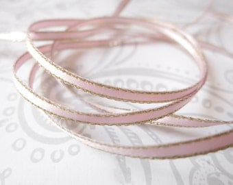 Gold Edged Baby Pink Satin Ribbon 1/8 inch -- 3 yards -- Blush Pink -- 3mm -- Double Faced
