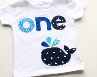 Nautical First Birthday Shirt Whale First Birthday Boys Shirt or Onesie gift photo prop funny Aqua navy gray