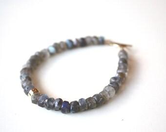 Labradorite Bracelet, Toggle Clasp, Gemstone Bracelet, Grey Stone Bracelet