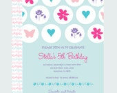 Shabby Garden Party Invitations First Birthday Invites Girls Printable Pink, Purple, Aqua, Modern Polka-Dot Personalized Kids Fun Tea Party