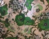 vintage poppy print flower power floral polyester fabric 2 yards