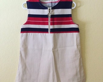 Vintage striped zip front mod dress 2t