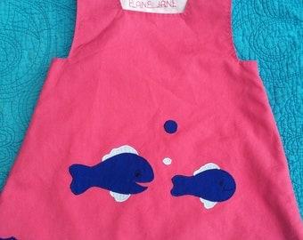 Vintage handmade fish top/dress 12-18 months