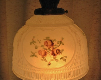 Antique Frosted Hand Painted Florals Glass Ceiling Shade Partial Metal Attachment