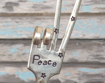PEACE sign Fork Garden Marker art with STARS stamped on tines Great holiday gift for gardener