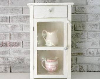 Vintage White/Cream Cabinet Shabby Chic Wood Cottage