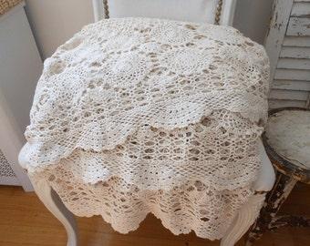 Vintage Crochet blanket, Crochet spread, cream crochet blanket