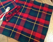 Set of 4 Vintage Plaid Napkins in Red, Blue, Green and Yellow Tartan Napkins