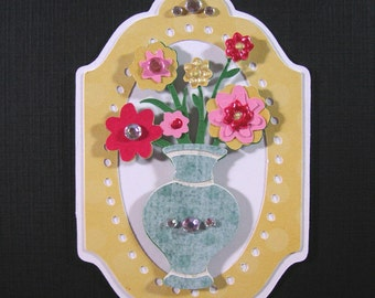 2 Flower vase Scrapbook Embellishment, Scrapbook layouts, Card Topper,Paper Piecing