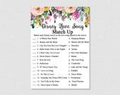 Disney Game - Floral Match the Disney Love Songs Game - Printable Bridal Shower Disney Game - Disney Love Songs Match Game - 0001W