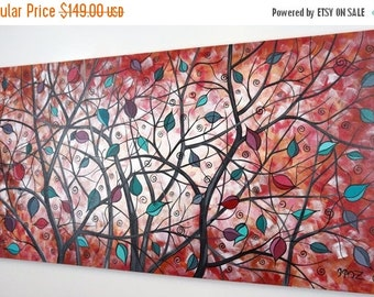 SALE 20% OFF Tree Painting Large Abstract Landscape red brown Whimsical Colorful Canvas Art Over Bed Living Room Dining Room Decor 24x48 JMi