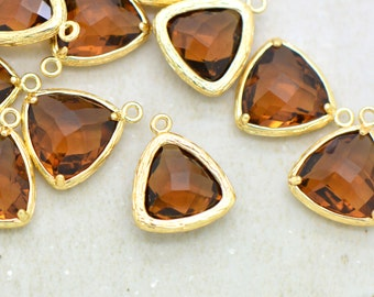 Wholesale Lot - Triangle Jewel Charms SMOKED TOPAZ Faceted Glass in 24k GOLD Plated Setting Drop Gem Jewels 14mm Triangle Bezel Brown ()