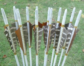 Traditional Arrows, 30-35 lb, dozen (12) arrow set, traditional wood archery arrows