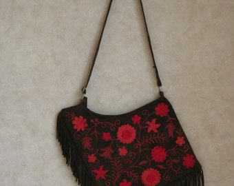 Flower Hand Embroidered Suede Bag